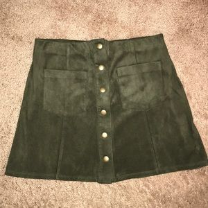 Army Green Button Up Skirt